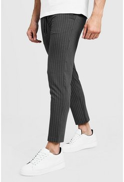 Mens Grey Darted Pinstripe Smart Jogger Trouser