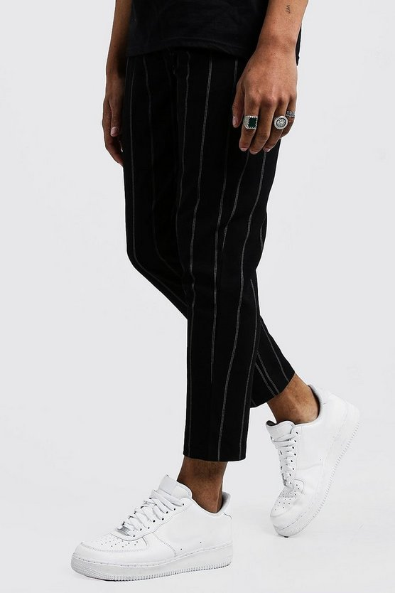Mens Black Wide Set Stripe Smart Jogger Pants