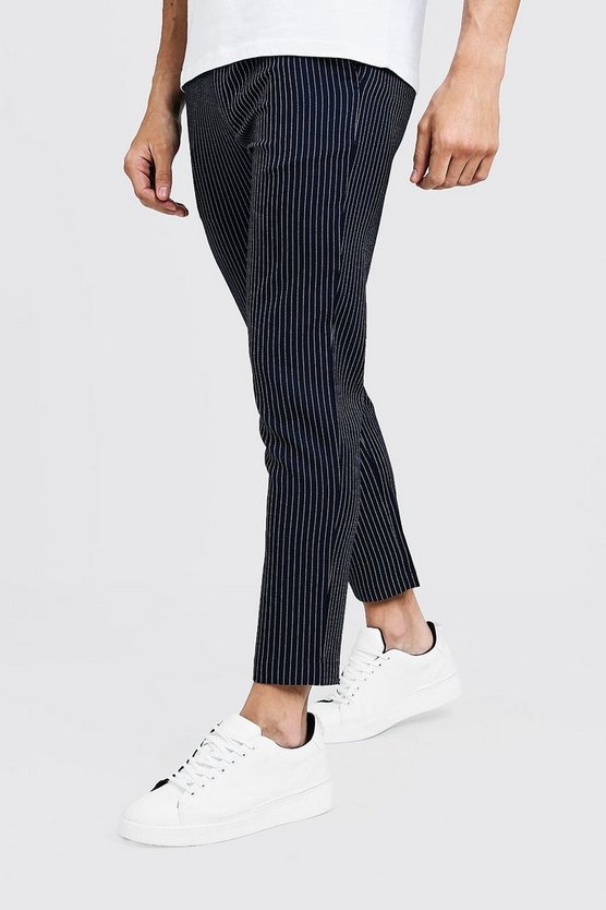 Navy Textured Stripe Smart Cropped Jogger