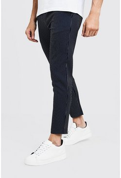 Mens Navy Textured Stripe Smart Cropped Jogger