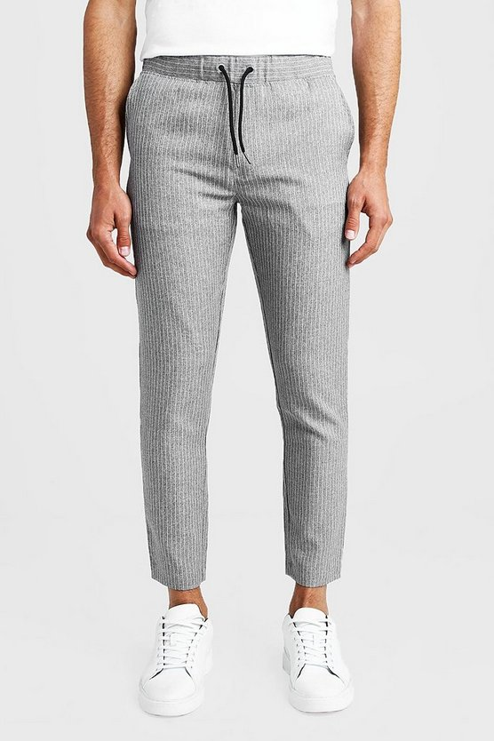 Mens Grey Textured Stripe Smart Cropped Jogger