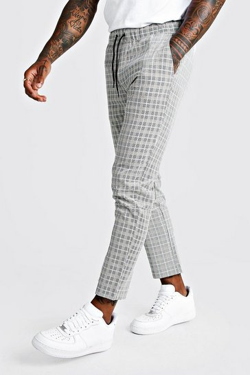 Mens Black Summer Windowpane Check Smart Jogger Trouser