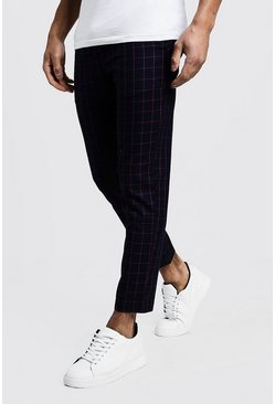 Herr Navy Windowpane Check Smart Cropped Jogger