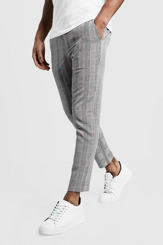 Black Cropped Check Smart Jogger Trouser