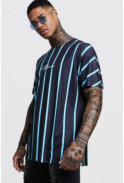 Mens Blue Man Signature Oversized Neon Stripe T-Shirt