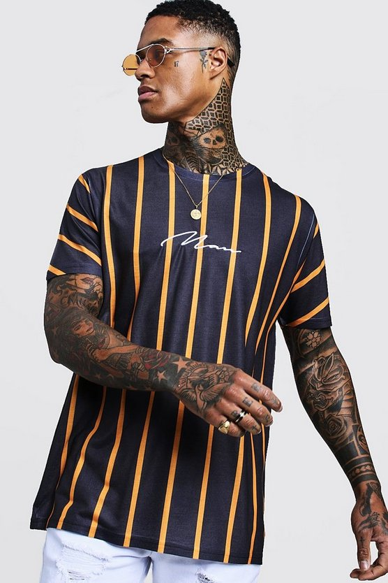 Mens Orange Man Signature Oversized Neon Stripe T-Shirt