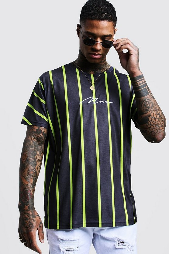 Lime Man Signature Oversized Neon Stripe T-Shirt