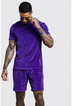 Mens Purple Man Signature Velour T-Shirt & Short Set