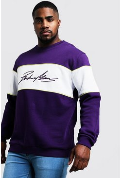 Mens Purple Big & Tall 3D MAN Embroidered Sweater