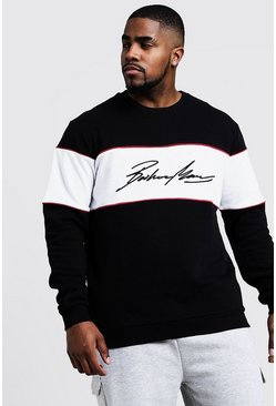 Mens Black Big & Tall 3D MAN Embroidered Sweater