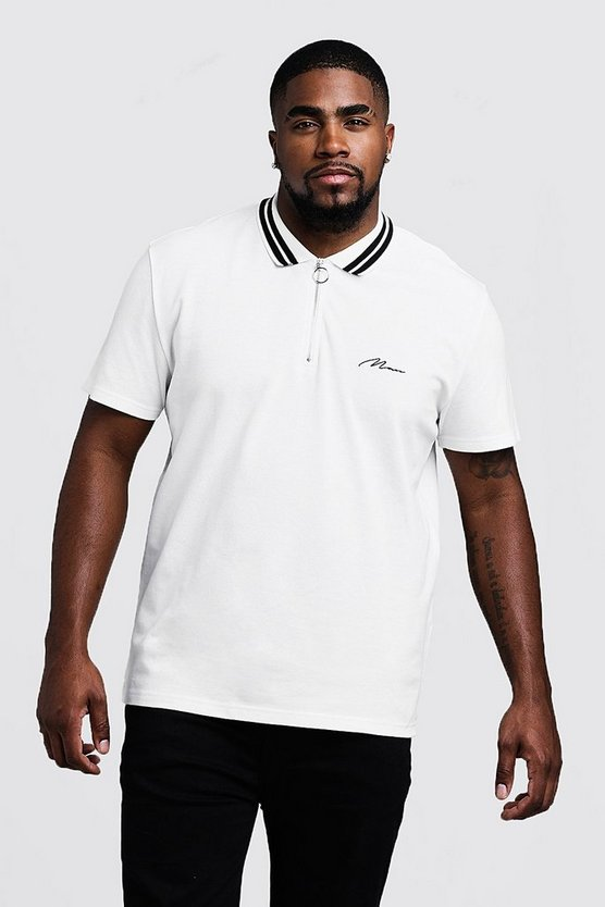 Mens Ecru Big & Tall MAN Pique Polo With Stripe Collar