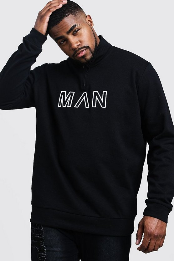 Mens Black Big & Tall Funnel Neck MAN Embroidered Track Top