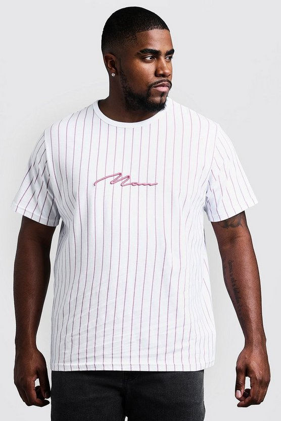 Mens Pink Big & Tall 3D MAN Embroidered Stripe T-Shirt