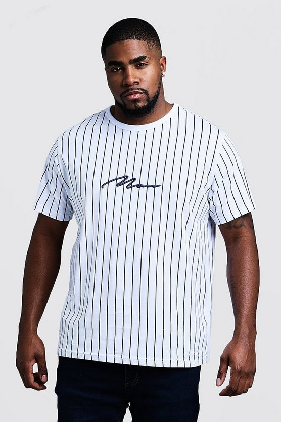 Mens Navy Big & Tall 3D MAN Embroidered Stripe T-Shirt
