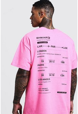 Neon-pink Oversized Neon Plane Ticket Back Print Man T-Shirt
