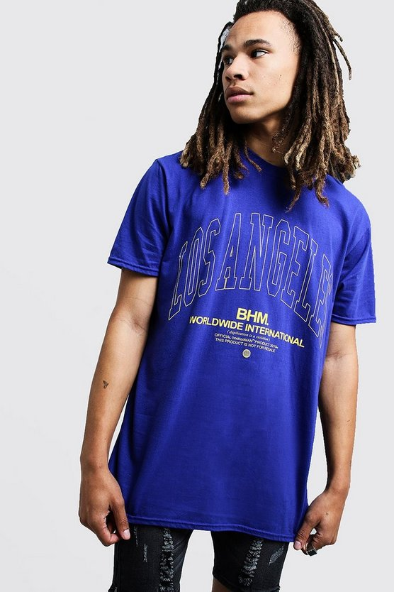 Mens Cobalt Oversized Los Angeles Man Puff Print T-Shirt