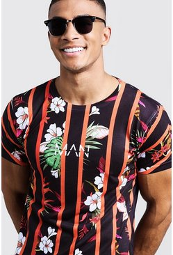 Mens Black Original MAN Stripe Floral Printed T-Shirt
