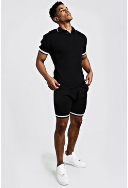 Mens Black Knitted Polo & Shorts Set With Tipping