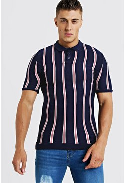Mens Navy Knitted Polo With Stripe