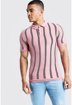 Herr Dusky pink Knitted Polo With Stripe
