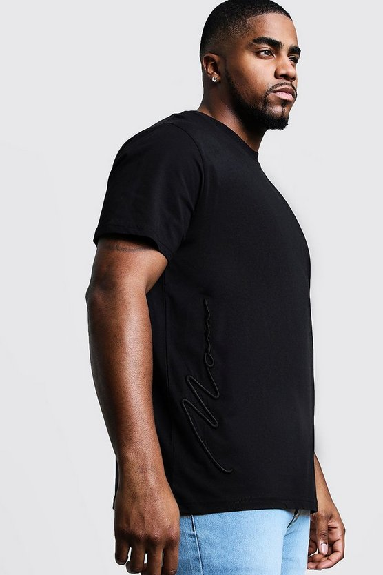 Mens Black Big & Tall 3D MAN Signature T-Shirt