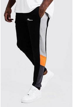 Mens Orange Big & Tall Colour Block MAN Branded Joggers
