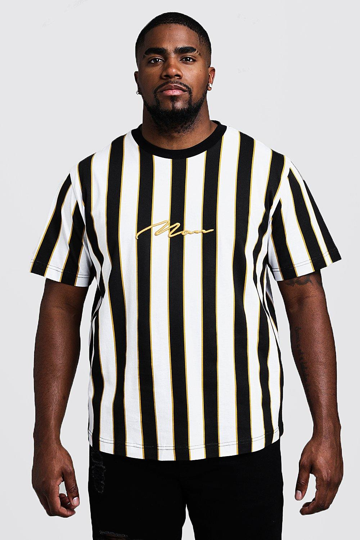 shop for newest recognized brands meet Big & Tall Stripe Print MAN T-Shirt | Boohoo