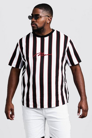 Mens Red Big & Tall Stripe Print MAN T-Shirt
