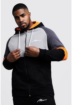Mens Orange Big & Tall Colour Block MAN Branded Hoodie