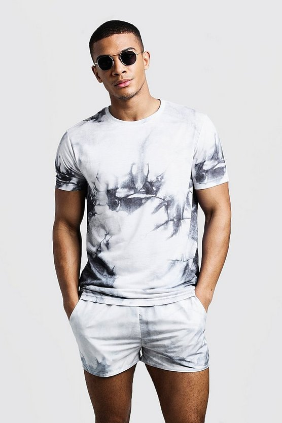 Mens Grey Tie Dye Printed T-Shirt & Swim Short Set