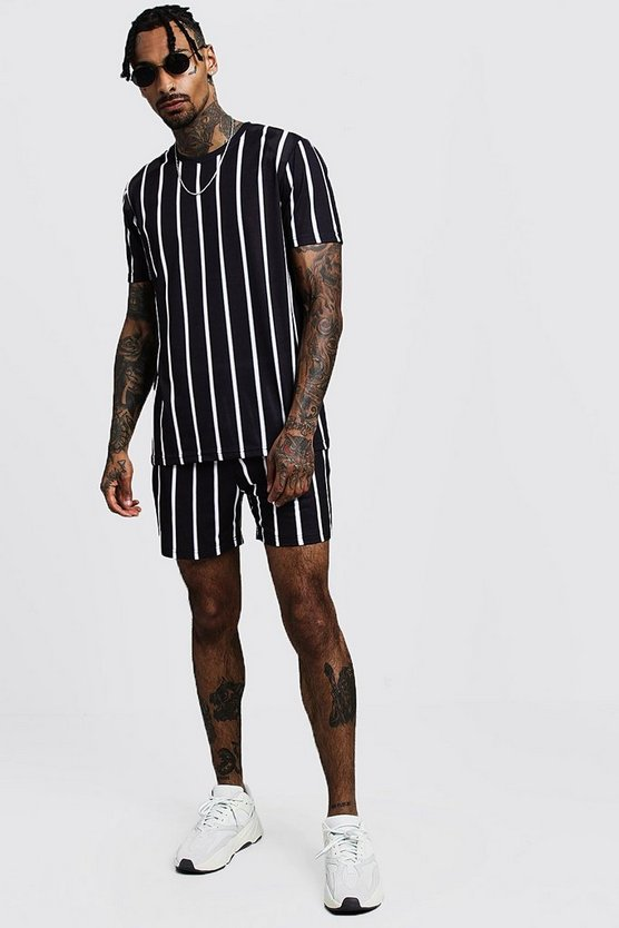 Mens Black Pinstripe T-Shirt & Short Set