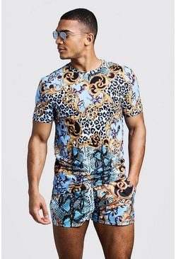 Mens Blue Baroque & Animal Print Muscle Fit T-Shirt & Swim Short