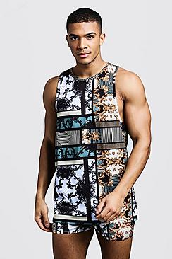 All Over Multi Print Racer Drop Armhole Vest Swim Short