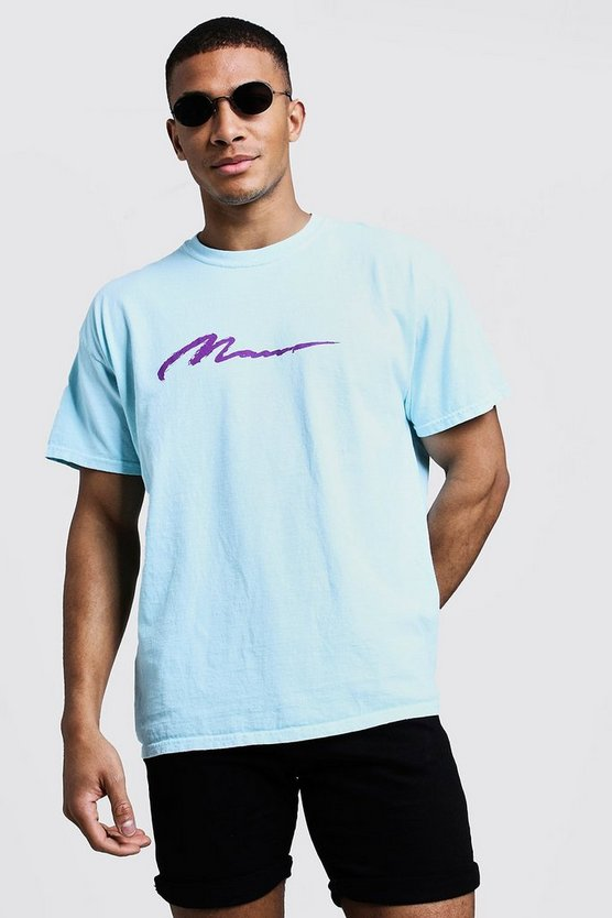 Mens Aqua MAN Paint Loose Fit Overdyed T-Shirt