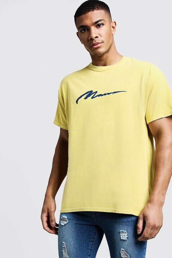 Mens Bright yellow MAN Paint Loose Fit Overdyed T-Shirt