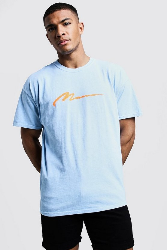 Mens Light blue MAN Paint Loose Fit Overdyed T-Shirt