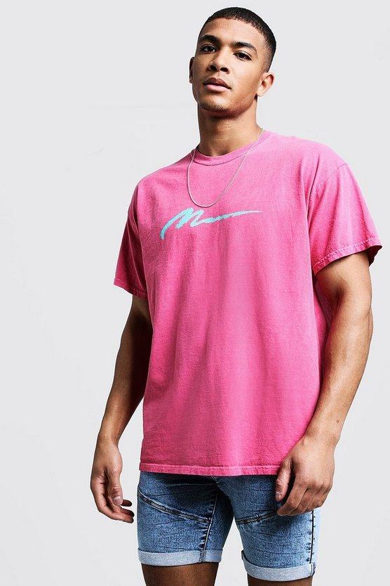 Mens Pink MAN Paint Loose Fit Overdyed T-Shirt