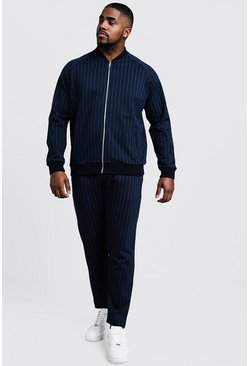Mens Navy Big & Tall MAN Pinstripe Cropped Smart Tracksuit
