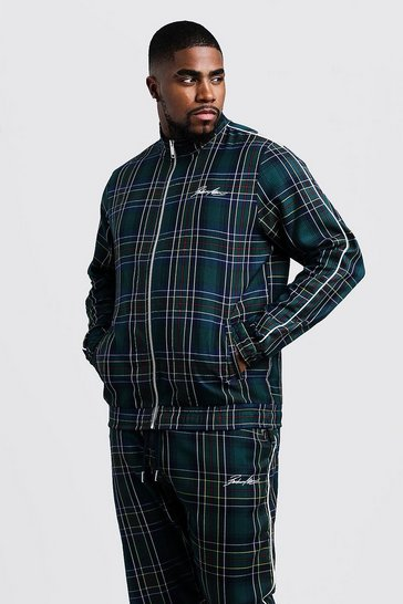 Mens Forest Big & Tall MAN Smart Tartan Track Top