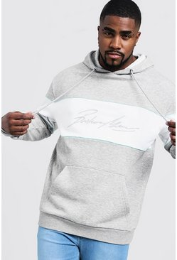 Mens Grey marl Big & Tall 3D MAN Embroidered Hoodie