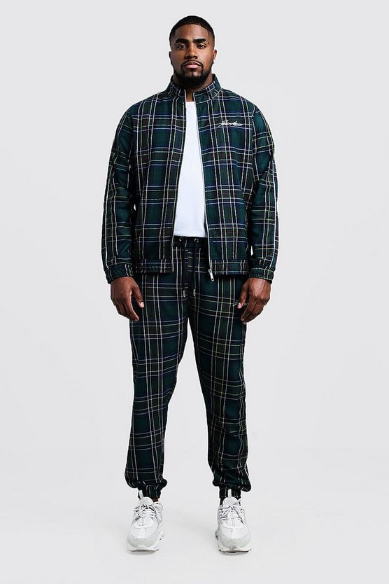 Mens Forest Big & Tall Smart Tartan Jogger With Piping