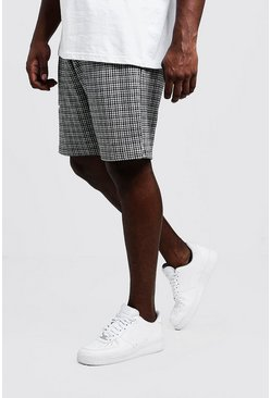 Mens Grey Big & Tall Gingham Mid Length Jersey Shorts