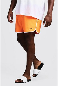 Big & Tall - Short de bain running signature MAN, Orange néon, Homme