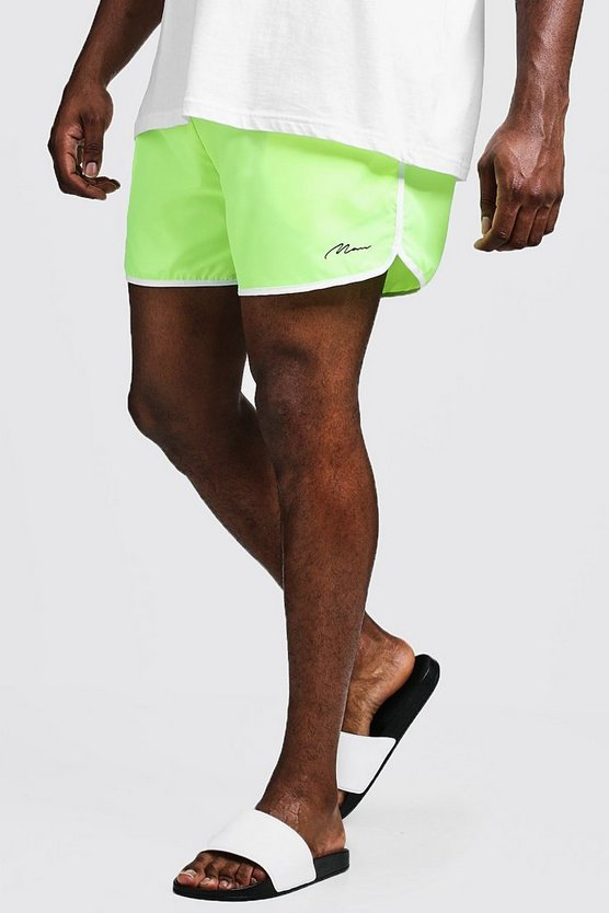 Mens Neon-yellow Big & Tall MAN Signature Runner Swim Short