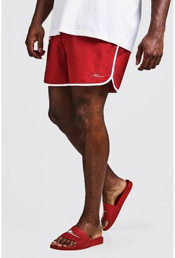 Mens Red Big & Tall MAN Signature Runner Swim Short
