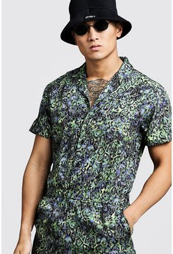 Mens Green Animal Print Revere Collar Jumpsuit
