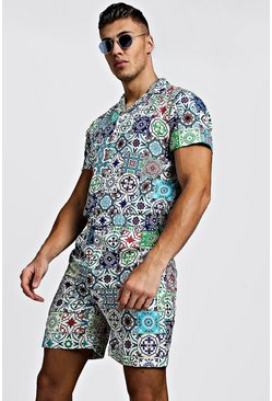 Mens Ecru Tile Print Revere Collar Short Jumpsuit