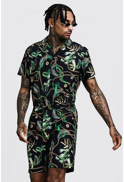 Mens Black Chain Print Revere Collar Short Jumpsuit