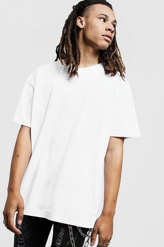 Mens White Oversized Crew Neck T-Shirt