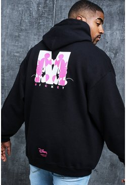 Sudadera con estampado de 'M' de Disney Big And Tall, Negro, Hombre